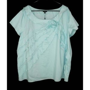NWT Talbots 24W Ruffled Rosette Top Blouse Cotton